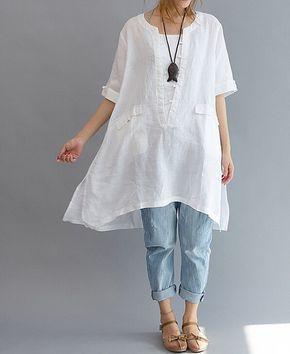 summer Asymmetrical long shirt/ Loose Fitting long shirt/ Leisure Linen long shirt/ Women blouse shirt - linen Asymmetrical long shirt/ Plus size long shirt/ by MaLieb, $105.00