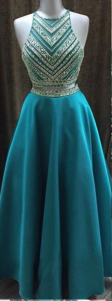 2016 Long Beading A-line Prom Dress - Pretty Teal Halter Beading Long A-line Prom Dresses For Teens http://www.luulla.com/product/566535/2016-long-beading-a-line-prom-dresses-modest-two-pieces-prom-dress-party-dresses-formal-evening-dresses