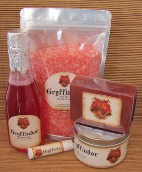 Harry Potter Themed Butterbeer Gryffindor Themed Gift Sets - Bath Salt, Soy Candle, Soap, Lip Balm and Bubble Bath - Harry Potter Themed Butterbeer Gryffindor by CherryPitCrafts