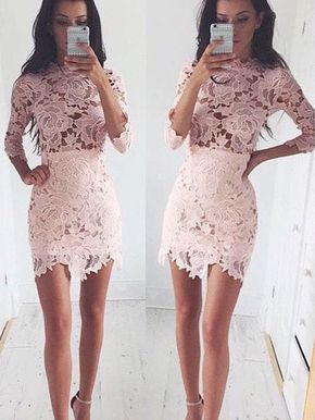 Mini Lace Long Sleeve Homecoming Dr - Mini Lace Long Sleeve Homecoming Dress with High Neck