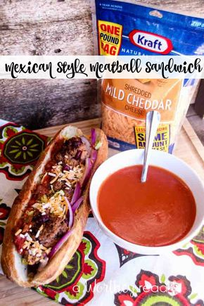 Mexican Style Meatball Sandwich - Quick and Easy Dinner Idea or Appetizer - Mexican Style Meatball Sandwiches   #NaturallyCheesy #ad