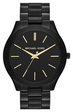 Michael Kors 'Slim Runway' Bracelet Watch, 42mm - Black⌚