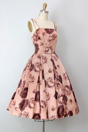 Vintage 1950s dress / vintage 50s party dress / rose print 50s cocktail dress - Stitch Fix https://www.stitchfix.com/referral/9001860