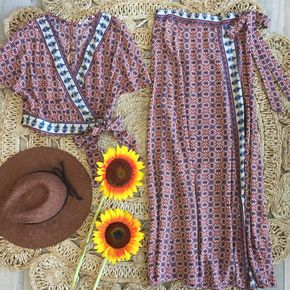 Serenity Boho Maxi Skirt Set - Sets are all the trend! The Serenity Boho Maxi Skirt Set features a boho print and style that is sure to be a part of this season's trend. Wrap top and skirt.