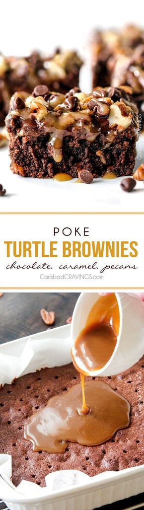 Poke Turtle Brownies - Crazy moist Poke Turtle Brownies seeping with pockets of caramel, infused with pecans and chocolate chips, smothered in the BEST chocolate frosting and topped with more caramel. the best brownies EVER!
