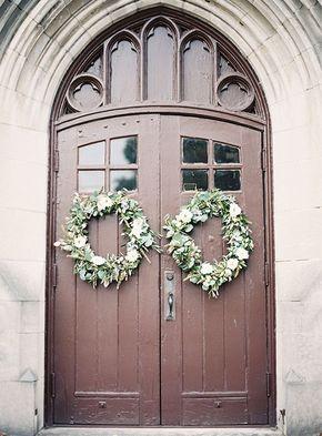 Winter Wedding Idea: Wreaths - Front doors of the church