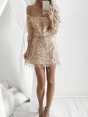 Stylish Sequins Off The Shoulder Long Sleeve Dress For Women Women, Men and Kids Outfit Ideas on our website at 7ootd.com #ootd #7ootd