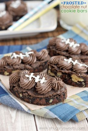 Frosted Chocolate Nut Cookie Bars - Frosted Chocolate Nut Cookie Bars