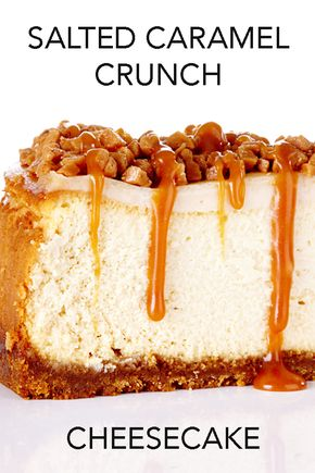 Salted Caramel Cheesecake Crunch - A buttery brown sugar and graham crust sits beneath a smooth and creamy cheesecake that's topped with a sour cream layer, toffee bits and homemade salted caramel sauce. #BiteMeMore #cheesecake #recipes