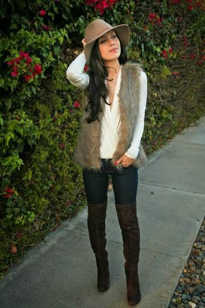 The HONEYBEE boho winter. Fedora hat, OTK boots, white top, skinnie jeans & faux fur vest