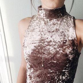 OnTwelfth | Mock Neck Crushed Velvet Tank - ♡pinterest ↠ @KelseyAlice17