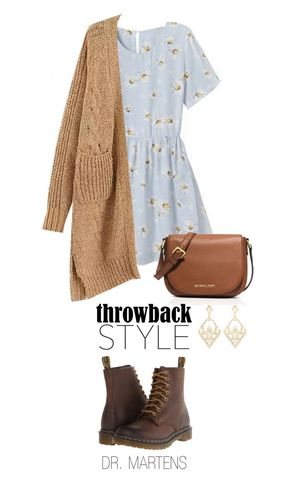 """""""Throwback Style: Dr. Martens"""" by boxthoughts ❤ liked on Polyvore featuring Rebecca, Dr. Martens, MICHAEL Michael Kors, Charlotte Russe, DrMartens and throwbackstyle"""