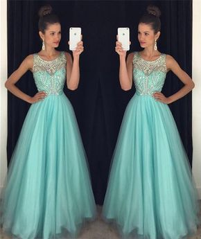 Mint Green Prom Dresses,Elegant Eve - Mint Green Prom Dresses,Elegant Evening Dresses,Long Formal Gowns,Beaded Party Dresses,Chiffon Pageant Formal Dress,Backless Prom Dress