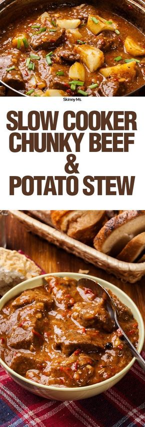 Slow Cooker Chunky Beef & Potato Stew - This Slow Cooker Chunky Beef & Potato Stew is a hearty, protein-packed dish that will warm your stomach and fill you for hours.