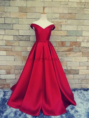 Red Portrait Bow A Line Satin Forma - red prom dress, red evening dress, off-the-shoulder formal dress, ruffles, bowtie, prom dress 2015