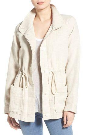 James Perse Funnel Neck Cotton & Linen Jacket