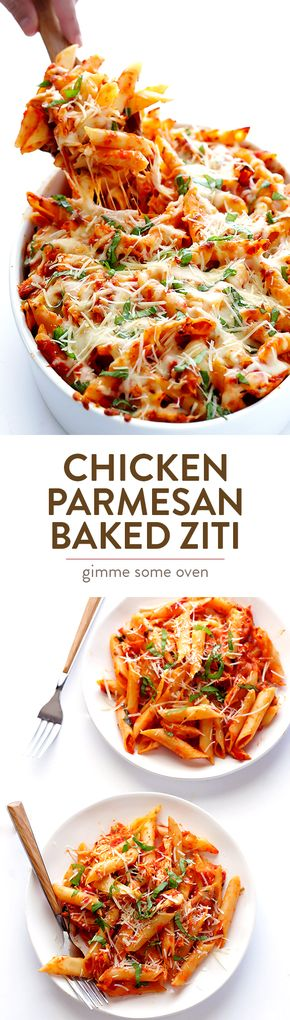 Chicken Parmesan Baked Ziti - Chicken Parmesan Baked ZIti -- all you need are 6 easy ingredients to make this delicious, crowd-pleasing meal! | gimmesomeoven.com