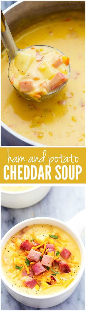 Ham and Potato Cheddar Soup - This hearty and delicious soup is full of ham, potatoes, and veggies. The real cheddar cheese inside adds such amazing flavor to this comforting soup! Literally the BEST SOUP I have had!!