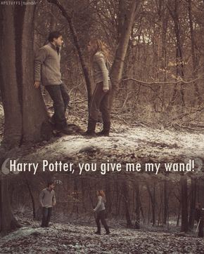 I love how he isn't scared of Voldemort, or Bellatrix, or Lucius, but he backs away from an angry Hermione.