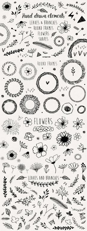 Hand drawn elements collection - Hand drawn elements collection by mirabella.taide on @Creative Market