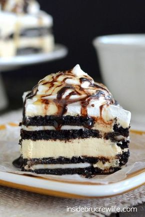 Salted Caramel Oreo Icebox Cake - Layers of salted caramel cheesecake and Oreo cookies takes this easy no bake cake over the top!!!