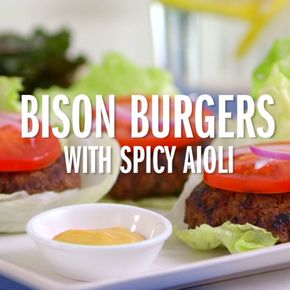 Bison Burgers with Spicy Aioli - Burger and fries are iconic and delicious, but the bun and French fries are problematic for the paleo diet. Give this fast food favorite a complete makeover resulting in a lower-fat, low-carb and nutrient-dense dish.