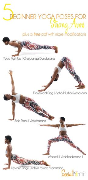 5 Beginner Yoga Poses for Strong Arms (and a FREE poster - Yoga for beginners - check out these 5 beginner yoga poses for stronger arms. Click through to get a free pdf with more modifications.