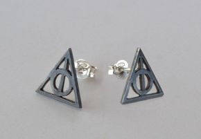 Harry Potter Deathly Hallows Earrings Post Stud Earrings Harry Potter Jewelry Geek Teen Jewelry Sterling Silver Birthday Gift Under 25