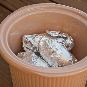 Crock Pot Baked Potatoes -- what a great idea! Great for summertime, too, when you don't want to heat your oven! another pinner says: We do this all the time only we don't even wrap ours! Just scrub, spray lightly the crockpot and potatoes with olive oil and sprinkle with sea salt. The skins get yummy and delicious just like at a restaurant!