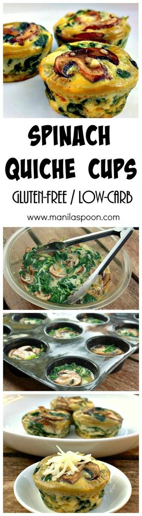 Spinach Quiche Cups - Completely gluten-free and low-carb is this healthy and delicious SPINACH QUICHE CUPS that everyone will enjoy. Perfect for breakfast or brunch!