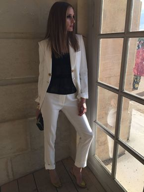 Olivia Palermo Breaks the Rules in a White Suit - Olivia Palermo