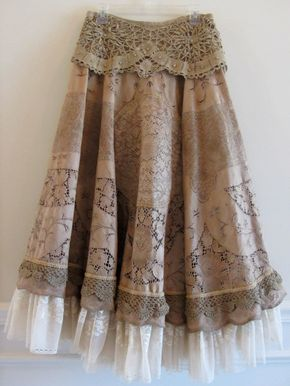 Vintage Venetian Lace Tea Stain Winter Prairie Skirt. not that I could wear but I still like it