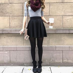 Carrie Circle Skirt - Black - Dear Stitch Fix Stylist, love this outfit; I love the short skirt and with the shirt and tights, it's perfect, I prefer more of heeled shoes or booties instead of these boots, but I love the overall outfit