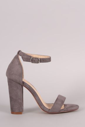 Suede Open Toe Ankle Strap Chunky Heel - Description This gorgeous heel features an open toe silhouette, one band across vamp, adjustable ankle strap, and chunky heel. Finished with a lightly padded insole for comfort. Material: Vegan Suede