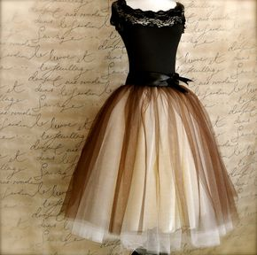 Brown and cream tutu for women. One of our popular tulle skirts, now with wide black ribbon waist - pretty