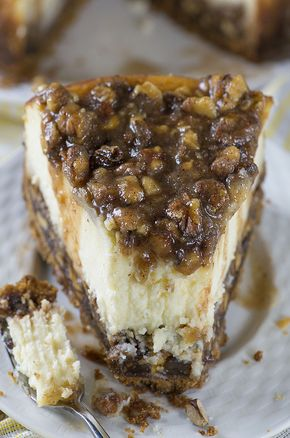 Pecan Pie Cheesecake - If you love Pecan Pie, you'll love this Cheesecake! This cake has vanilla wafers crust, pecan pie filling, creamy cheesecake layer and buttery, caramel-pecan topping.