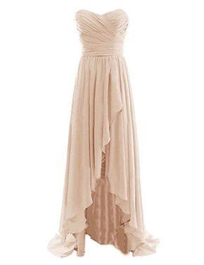 Cute, Diyouth, Sweetheart, Hi-Lo, L - Cute, Diyouth, Sweetheart, Hi-Lo, Long, Pleats Prom Dress, Champagne, For Teens