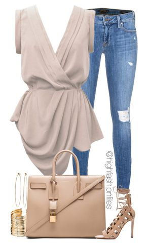 Casual Chic - Casual Chic by highfashionfiles on Polyvore featuring polyvore, fashion, style, YOANA BARASCHI, Genetic Denim, Aquazzura, Yves Saint Laurent, ASOS and Dean Harris
