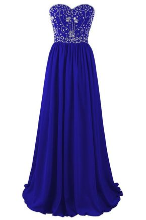 Beautiful Blue Chiffon Beaded A-lin - Beautiful Blue Chiffon Beaded A-line Prom Dresses 2017, Blue Long Prom Gowns, Party Dresses, Evening Dresses