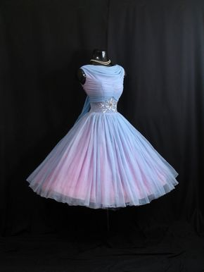 Vintage 1950's 50s Baby Blue Ruched Beaded Rhinestones Chiffon Organza Party Prom Wedding Dress Gown - @garciaazul