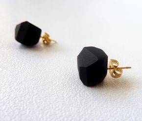 Black geo earrings - black studs