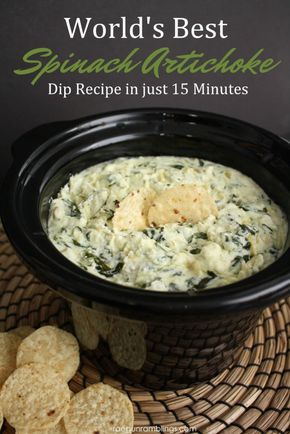 World's Best Spinach Artichoke Dip Recipe - My new favorite party recipe. This spinach artichoke dip recipe is SO good and easy. Perfect appetizer or snack.