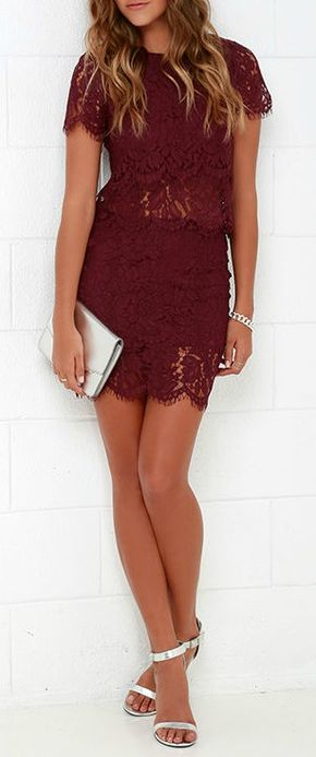 Turn Back Time Burgundy Lace Two-Piece Dress - You'll fondly reminisce on all the good times you've had (and will have!) in the Turn Back Time Burgundy Lace Two-Piece Dress! Burgundy eyelash lace overlay shapes a cute crop top with a round neckline and short sleeves. A second layer of lace drops below the scalloped hem to create a sheer, tiered look. Matching skirt finishes off the set with its figure-accentuating fit and tiered mini-length hem. #lovelulus