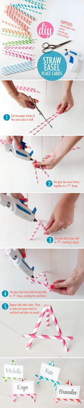 DIY Paper Straw Easel Place Cards | The Chic Site