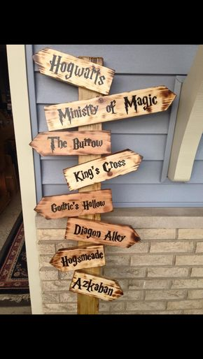 Harry Potter directional sign.  My sister made this for my daughters birthday party.