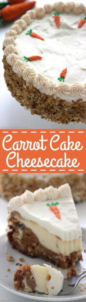 Carrot Cake Cheesecake - Carrot Cake Cheesecake - moist carrot cake with a hint of pineapple, coconut, raisins, and walnuts wrapped in a delicious cheesecake and then topped off with a perfect cream cheese frosting. Perfect Easter dessert.