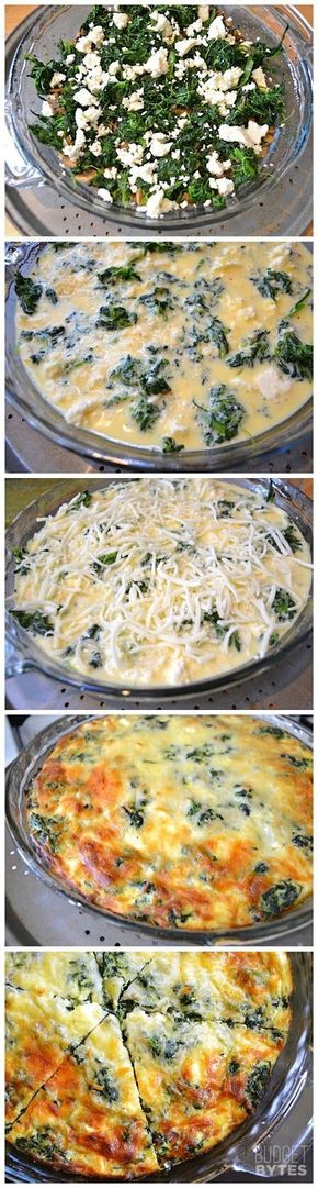 Spinach Mushroom and Feta Crustless Quiche - Spinach, Mushroom  Feta Cruststless Quiche Recipe -- Low Carb on a budget!
