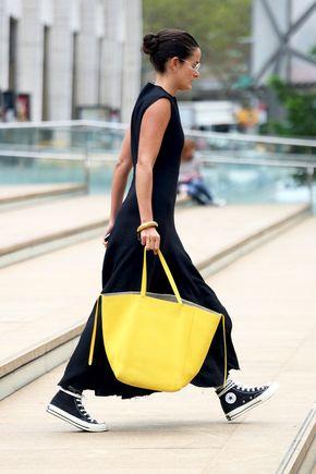 Le Fashion Blog Street Style Nyfw Lucy Chadwick Maxi Sleeveless Dress Converse Hi Top Sneakers Bright Yellow Tote Bag Via Popsugar