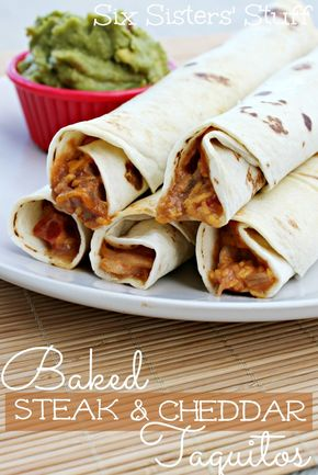 baked steak and cheddar taquitos from SixSistersStuff.com #steak #cheese #taquitos #dinner #recipe