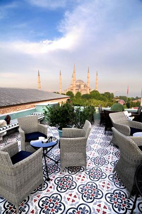 Rooftop at Hotel Ibrahim Pasha in Istanbul - love the tiles